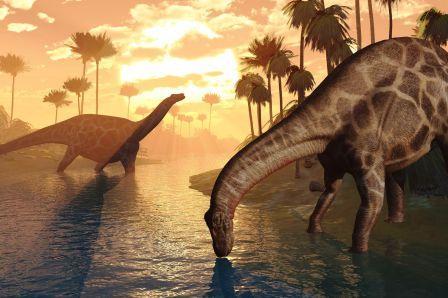 7135738 - two dicraeosaurus dinosaurs in a prehistoric sunrise landscape - 3d render.